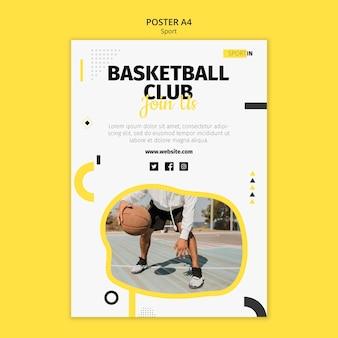 バスケットボールクラブの縦のポスターテンプレート