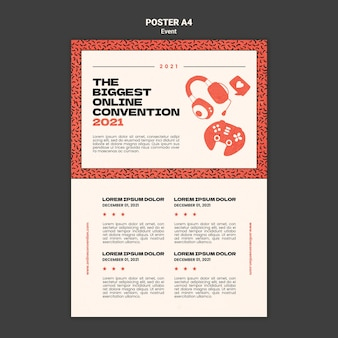 Вертикальный шаблон плаката для крупнейшей онлайн-конференции 2021 года