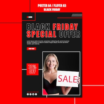 Вертикальный шаблон плаката для шоппинга в черную пятницу