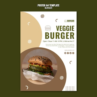 Вертикальный шаблон плаката для бургерного ресторана