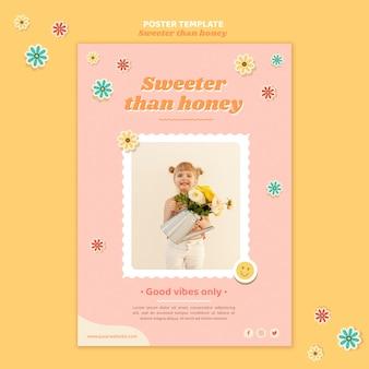 花を持つ子供のための垂直ポスターテンプレート