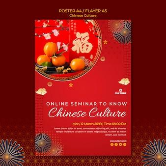 中国文化展の縦型ポスターテンプレート