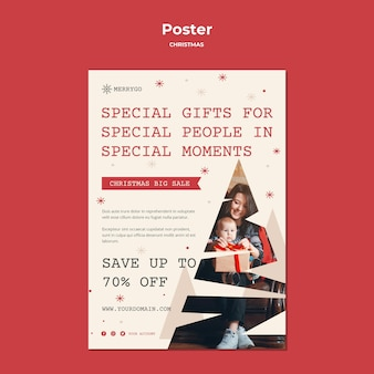 크리스마스 판매를위한 세로 포스터 템플릿