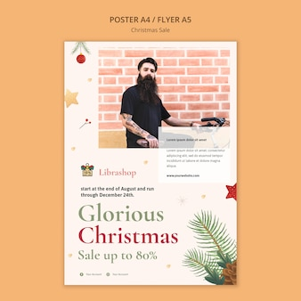Вертикальный шаблон плаката для рождественской распродажи