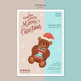 Вертикальный шаблон плаката на рождество с медведем