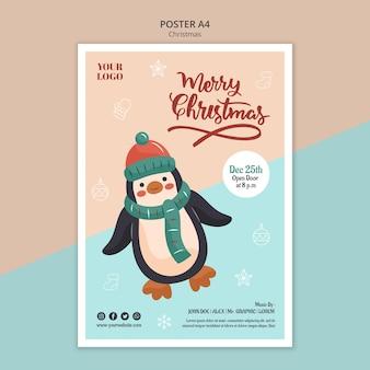 Вертикальный шаблон плаката на рождество с пингвином
