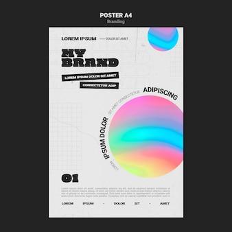 Вертикальный шаблон плаката для брендинга компании в форме разноцветного круга Бесплатные Psd