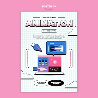 コンピュータアニメーションの垂直ポスターテンプレート