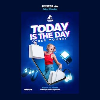 Вертикальный шаблон плаката для кибер-понедельника с женщиной и предметами
