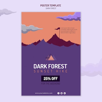 어두운 숲 하이킹을위한 세로 포스터 템플릿