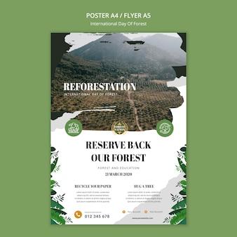 Вертикальный шаблон плаката для дня леса с природой