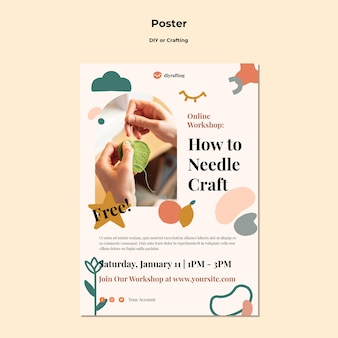 Diy 튜토리얼을위한 수직 포스터 템플릿 무료 PSD 파일