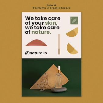 Вертикальный шаблон плаката для подиума из бутылки эфирного масла с геометрическими фигурами