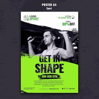 운동 및 체육관 훈련을 위한 수직 포스터 템플릿
