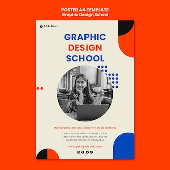 Вертикальный шаблон плаката для школы графического дизайна