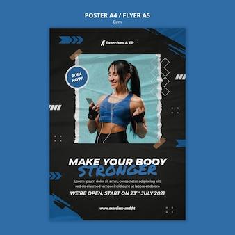 Вертикальный шаблон плаката для спортзала со спортсменкой