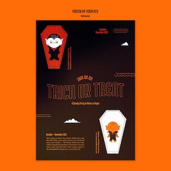 관에 뱀파이어와 할로윈 세로 포스터 템플릿