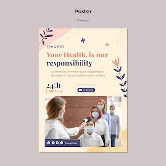 의료 마스크를 착용하는 사람들과 건강 관리를위한 수직 포스터 템플릿