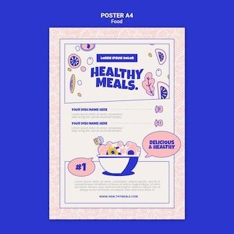 건강한 식사를위한 세로 포스터 템플릿