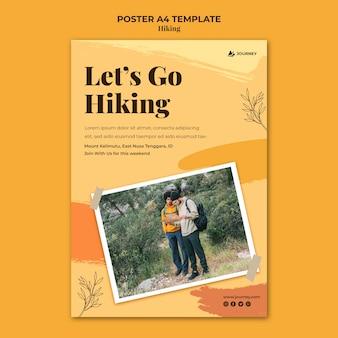ハイキング用の縦型ポスターテンプレート