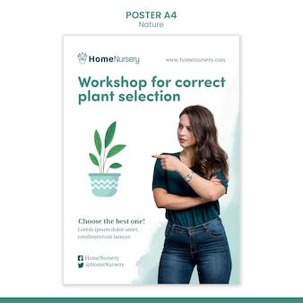 女性と観葉植物のケアのための垂直ポスターテンプレート