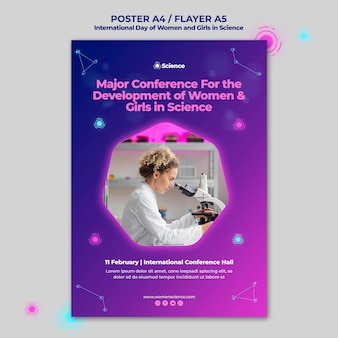 Вертикальный шаблон плаката для международного дня женщин и девочек на празднике науки с женщиной-ученым