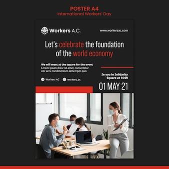 국제 노동자의 날 축하를위한 세로 포스터 템플릿