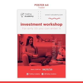 Вертикальный шаблон плаката для занятия инвестиционным трейдером