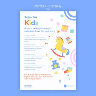 Вертикальный шаблон плаката для детских игрушек онлайн
