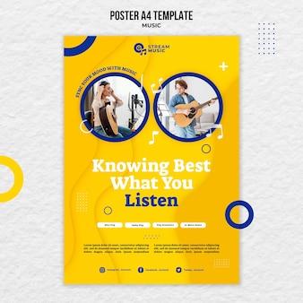 Вертикальный шаблон плаката для потоковой передачи живой музыки