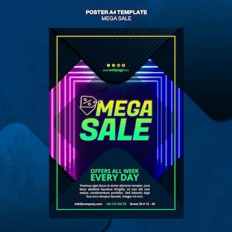 Вертикальный шаблон плаката для мега распродажи