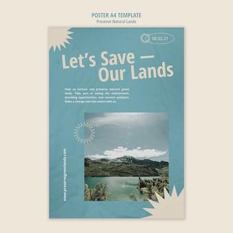 風景と自然保護のための垂直ポスターテンプレート