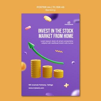 온라인 뱅킹 및 금융을위한 세로 포스터 템플릿