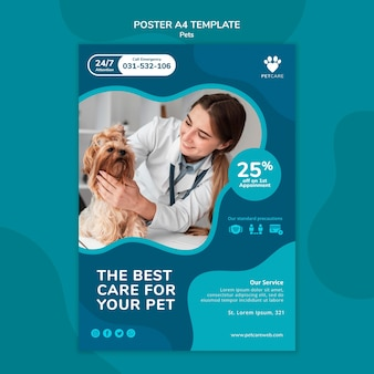 Вертикальный шаблон плаката по уходу за домашними животными с ветеринаром и собакой йоркширского терьера