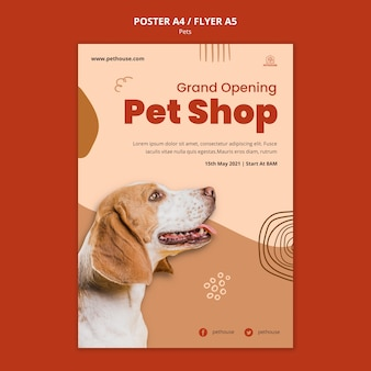 귀여운 강아지와 애완 동물을위한 세로 포스터 템플릿