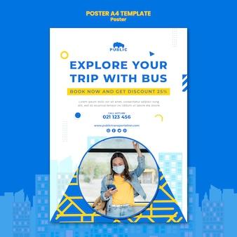 女性の通勤者との公共交通機関の垂直ポスターテンプレート