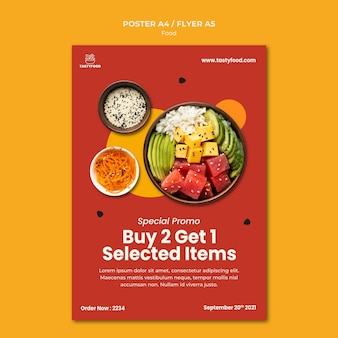 건강 식품의 그릇과 레스토랑의 수직 포스터 템플릿