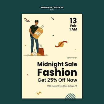 남자와 쇼핑백 판매를위한 수직 포스터 템플릿 무료 PSD 파일