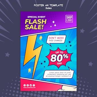 Вертикальный шаблон плаката для продажи в стиле комиксов