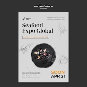 홍합과 국수가있는 해산물 레스토랑의 세로 포스터 템플릿