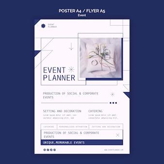 Вертикальный шаблон плаката для планирования социальных и корпоративных мероприятий Бесплатные Psd