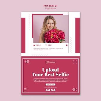 ソーシャルメディアの写真をアップロードするための垂直ポスターテンプレート