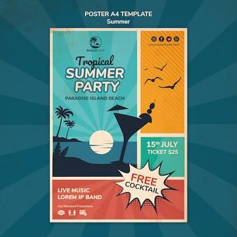 열대 해변 파티를위한 세로 포스터 템플릿