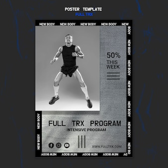 남자 선수와 trx 운동을위한 세로 포스터 템플릿