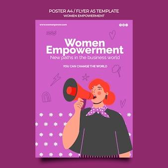 女性のエンパワーメントのための垂直ポスターテンプレート