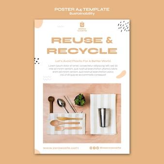 Вертикальный шаблон плаката для образа жизни без отходов