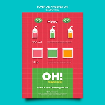 Vertical poster template for fruit smoothies recipes