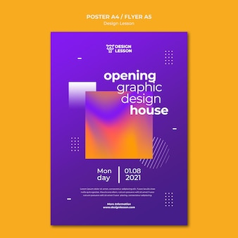 Vertical poster template for graphic design lessons