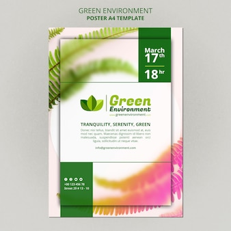 Vertical poster template for green environment