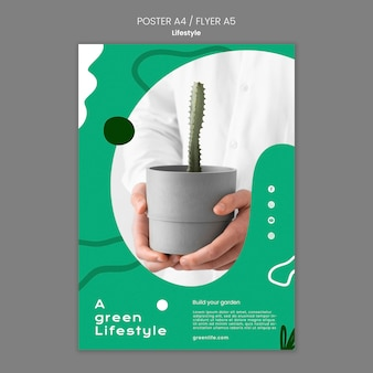 Vertical poster template for green lifestyle with plant